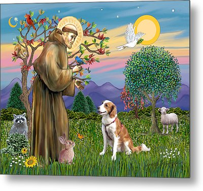 Metal Print featuring the digital art Saint Francis Blesses A Welsh Springer Spaniel by Jean Fitzgerald