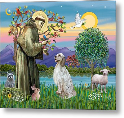 Metal Print featuring the digital art Saint Francis Blesses An English Setter by Jean B Fitzgerald