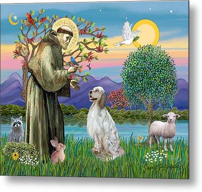 Saint Francis Blesses An English Setter Metal Print by Jean B Fitzgerald