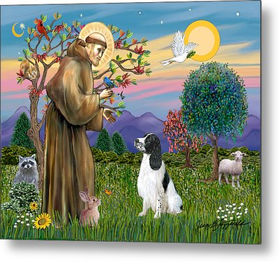 Metal Print featuring the digital art Saint Francis Blesses An English Springer Spaniel by Jean Fitzgerald