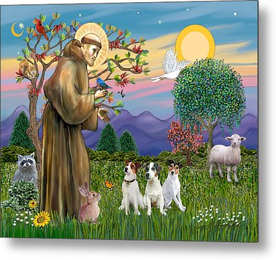 Metal Print featuring the digital art Saint Francis Blesses Three Jack Russell Terriers by Jean Fitzgerald