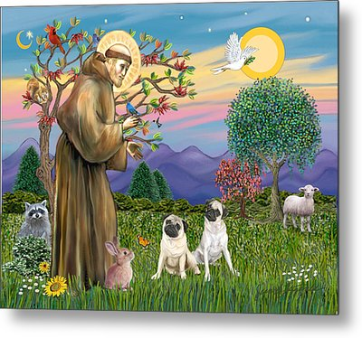 Metal Print featuring the digital art Saint Francis Blesses Two Fawn Pugs by Jean Fitzgerald