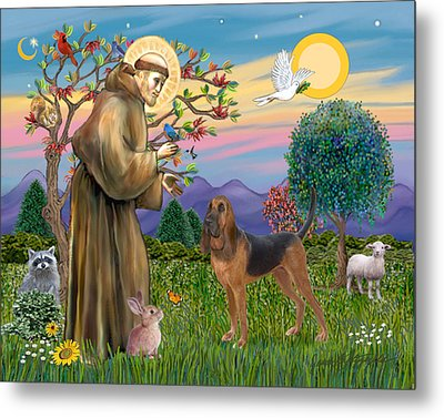 Metal Print featuring the digital art Saint Francis Blessing A Bloodhound by Jean Fitzgerald