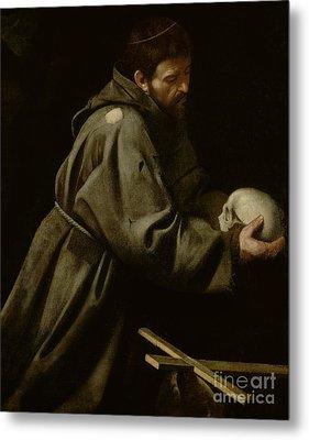 Saint Francis In Meditation Metal Print by Michelangelo Merisi da Caravaggio