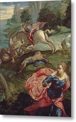 Saint George And The Dragon  Metal Print by Jacopo Robusti Tintoretto