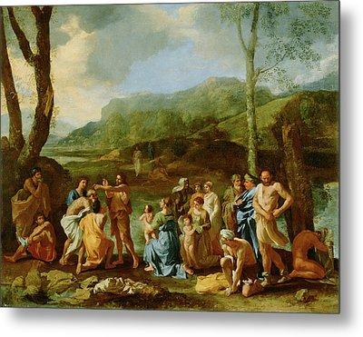 Saint John Baptizing In The River Jordan Nicolas Poussin Metal Print by Litz Collection