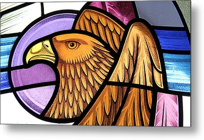 Metal Print featuring the glass art Saint John Eagle  by Gilroy Stained Glass