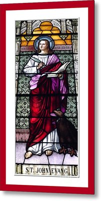 Saint John The Evangelist Stained Glass Window Metal Print by Rose Santuci-Sofranko