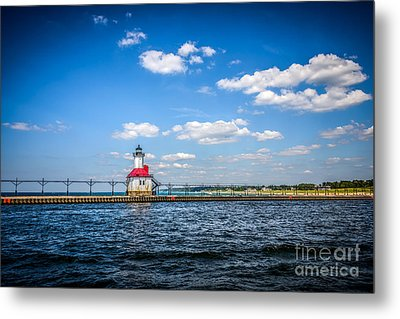 Saint Joseph Lighthouse And Pier Picture Metal Print by Paul Velgos