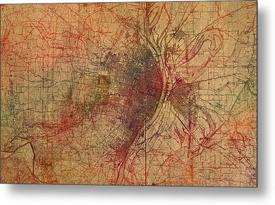 Saint Louis Missouri Street Map Schematic Watercolor On Old Parchment From 1903 Metal Print