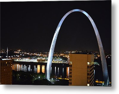 Metal Print featuring the photograph Saint Louis Skyline And Jefferson Expansion Arch by Jeff at JSJ Photography
