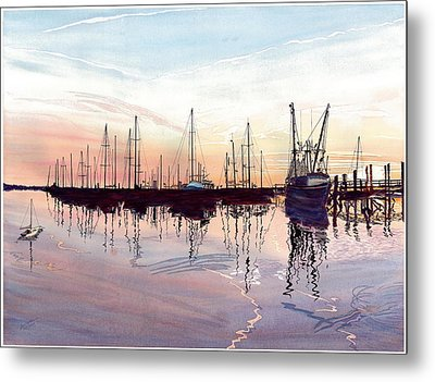 Metal Print featuring the painting Saint Marys Marina   Shadows Light And Fire by Joel Deutsch