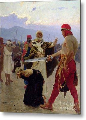Saint Nicholas Of Myra Saves Three Innocents From Death Metal Print by Ilya Efimovich Repin