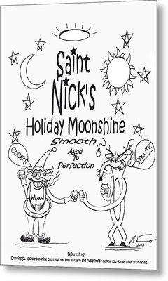 Saint Nicks Holiday Moonshine Metal Print