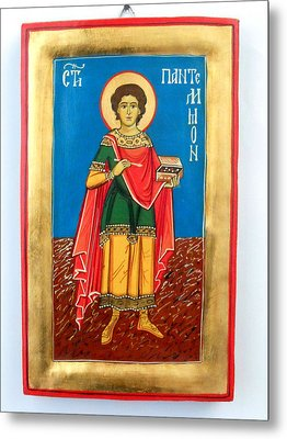 Saint Panteleimon Doctor Without Silver For Those Who Had No Money Metal Print by Denise ClemencoIcons