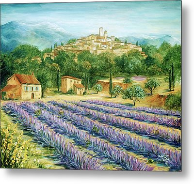 Saint Paul De Vence And Lavender Metal Print