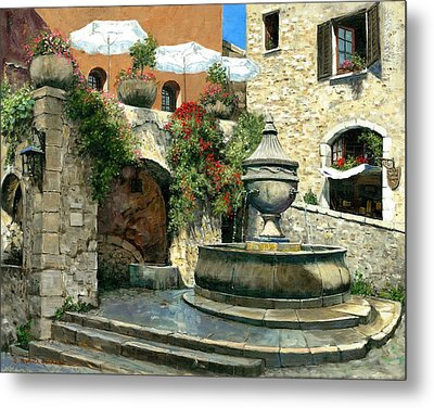 Saint Paul De Vence Fountain Metal Print