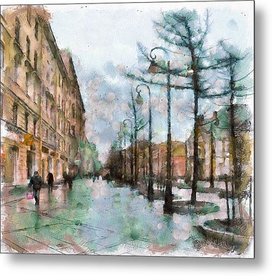 Saint Petersburg Rain Metal Print by Yury Malkov