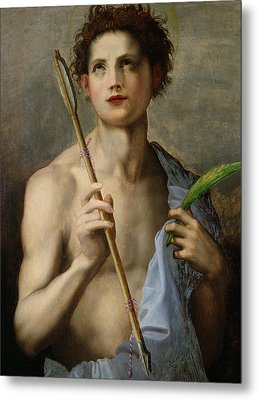 Saint Sebastian Holding Two Arrows And The Martyr's Palm Metal Print