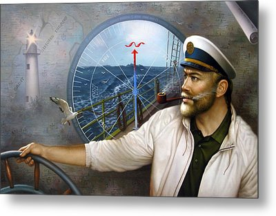Saint Simons Island Map Captain 3 Metal Print