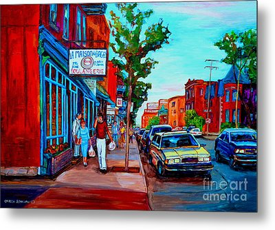 Metal Print featuring the painting Saint Viateur Bagel Shop by Carole Spandau
