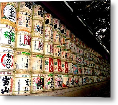 Metal Print featuring the photograph Sake Barrels by Julia Ivanovna Willhite