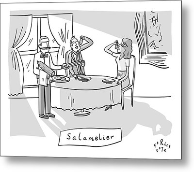 Salamlier -- A Waiter Slices Salami For Two Metal Print by Farley Katz