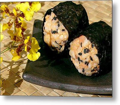 Salmon And Black Sesame Onigiri Metal Print by James Temple