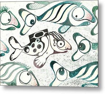 Salmon Boy The Swimmer Metal Print by Melinda Dare Benfield
