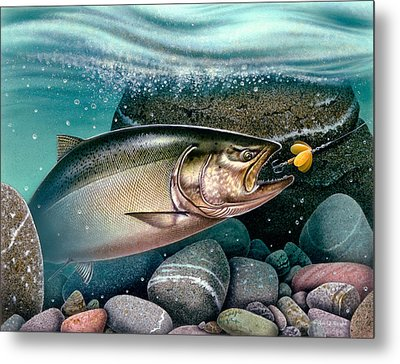Salmon Stream Metal Print