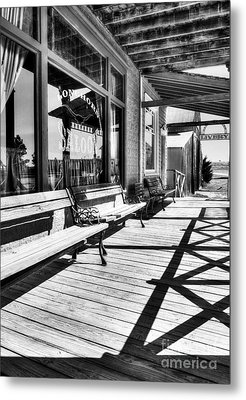 Saloon Shadows Bw Metal Print by Mel Steinhauer