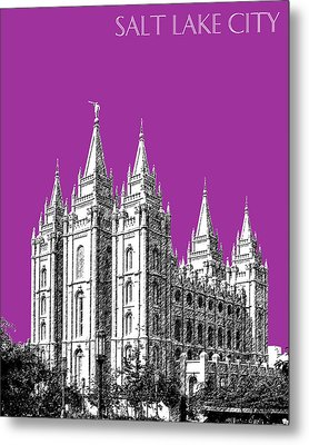 Salt Lake City Skyline Mormon Temple - Plum Metal Print