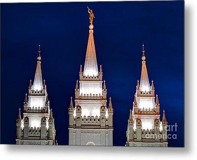 Salt Lake Lds Mormon Temple At Night Metal Print by Gary Whitton
