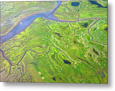 Salt Marshes From The Air. Metal Print by Mark Williamson
