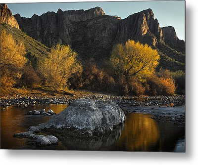 Salt River Fall Foliage Metal Print by Dave Dilli