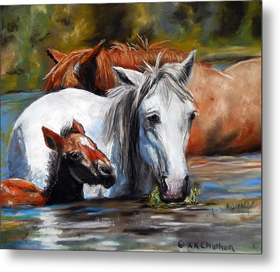 Metal Print featuring the pastel Salt River Foal by Karen Kennedy Chatham