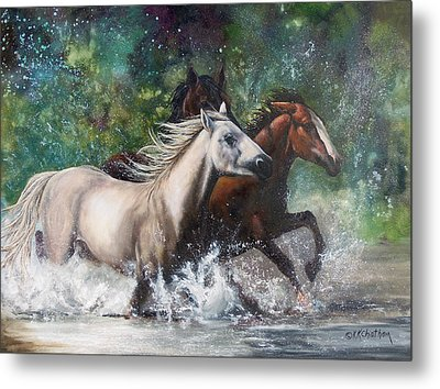Metal Print featuring the painting Salt River Horseplay by Karen Kennedy Chatham