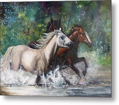 Salt River Horseplay Metal Print by Karen Kennedy Chatham