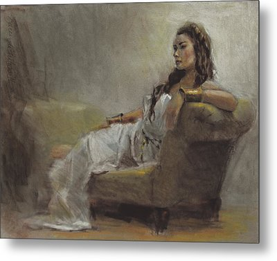 Samantha Painted From Life Metal Print by Karen Whitworth