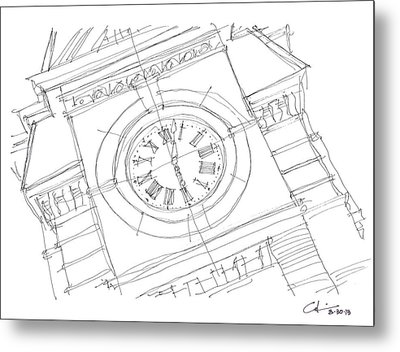 Metal Print featuring the drawing Samford Clock Sketch by Calvin Durham