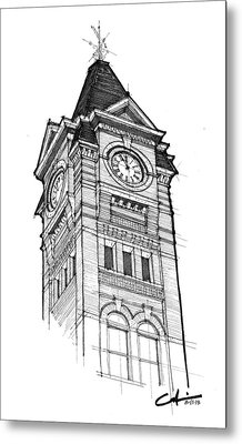 Metal Print featuring the drawing Samford Hall by Calvin Durham