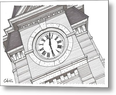 Metal Print featuring the drawing Samford Hall Detail by Calvin Durham