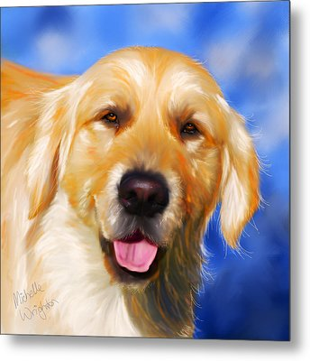 Happy Golden Retriever Painting Metal Print by Michelle Wrighton