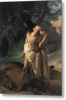 Samson Slays The Lion Metal Print by Francesco Hayez