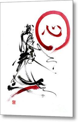 Samurai Enso Circle Wild Fury Bushi Bushido Martial Arts Sumi-e  Metal Print by Mariusz Szmerdt