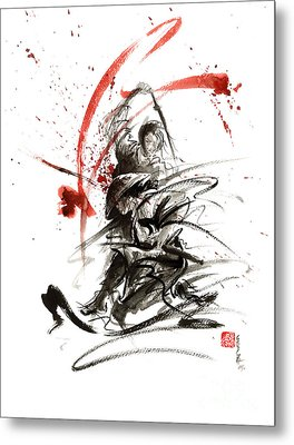 Samurai Sword Black White Red Strokes Bushido Katana Martial Arts Sumi-e Original Fight Ink Painting Metal Print