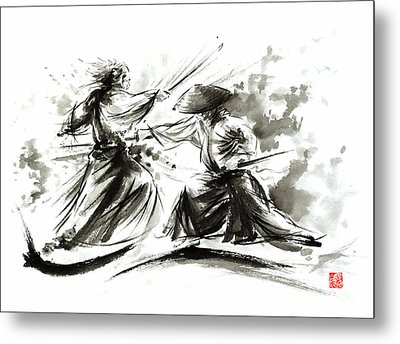 Samurai Sword Bushido Katana Martial Arts Budo Sumi-e Original Ink Painting Artwork Metal Print by Mariusz Szmerdt