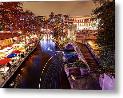 San Antonio Riverwalk And Christmas Lights - San Antonio Texas Metal Print by Silvio Ligutti