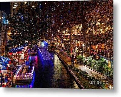 San Antonio Riverwalk During Christmas Metal Print by Silvio Ligutti