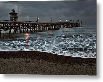 San Clemente Pier Dawn Metal Print by Joan Carroll
